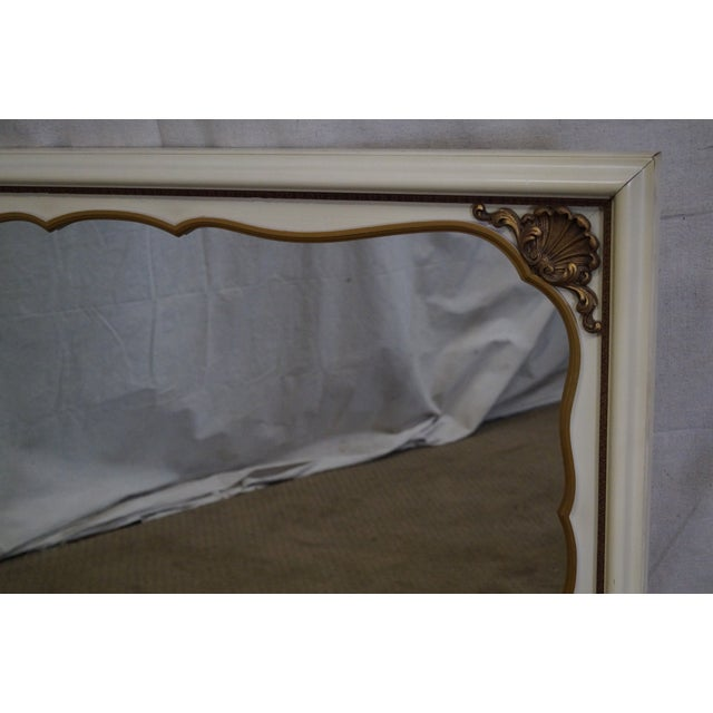 Vintage Painted Gold Accent Shell Carved Louis XV Style Wall Mirror For Sale - Image 5 of 10