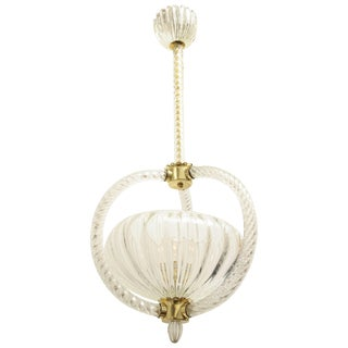Barovier 1930s Art Deco Handblown Glass Pendant Light For Sale