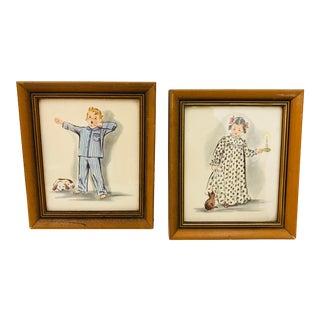 Pair Vintage Children's Prints For Sale
