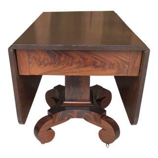 Antique Empire Mahogany Pedestal Drop Leaf Table For Sale