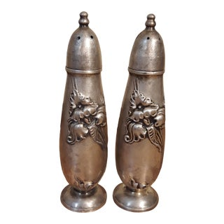 1950s White Orchid Silverplate Salt and Pepper Shakers by Community - a Pair For Sale