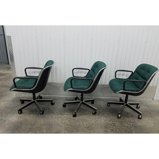 Mid-Century Modern 1980's Mid-Century Modern Knoll Charles Pollack Cloth Office Chairs - Set of 3 For Sale - Image 3 of 10