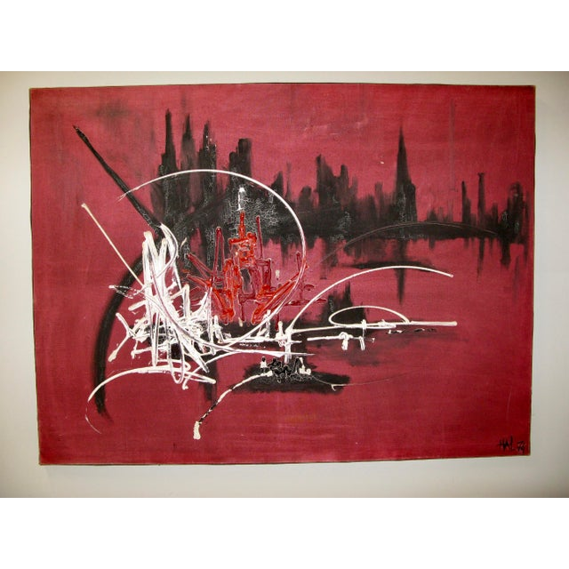 Large Abstract painting, Oil on Canvas in the Manner of the French Artist Georges Mathieu C.1974. Great original...