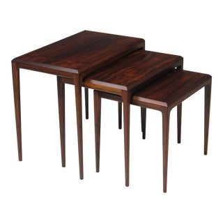 Rosewood Johannes Andersen for Cf Christensen of Silkeborg Nesting Tables For Sale