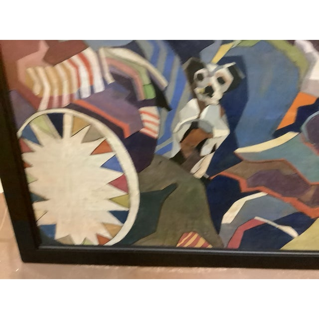 Wood Midcentury Cubist Style / Folk Art Clown Painting For Sale - Image 7 of 12
