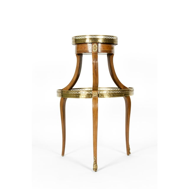 Art Nouveau Louis XVI Two-Tier Marble Top Marquetry Side or End Table For Sale - Image 3 of 13