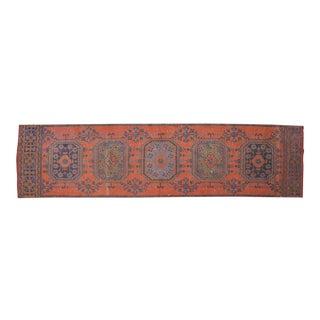 Distressed Oushak Rug Runner Carmine Color Hallway Rug- 2'9″ X 11'1″ For Sale