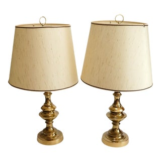 1970's Brass Table Lamps With Shades - a Pair For Sale