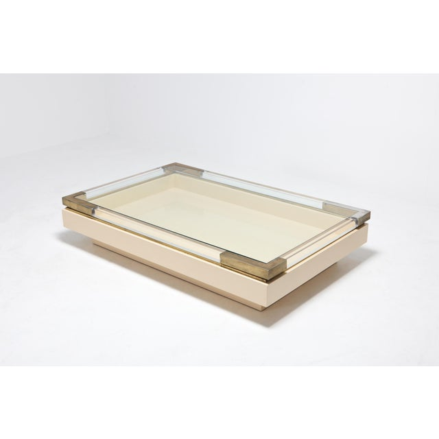Contemporary Sliding Coffee Table in Brass, Lucite and Lacquer by Charles Hollis Jones 1970s For Sale - Image 3 of 9