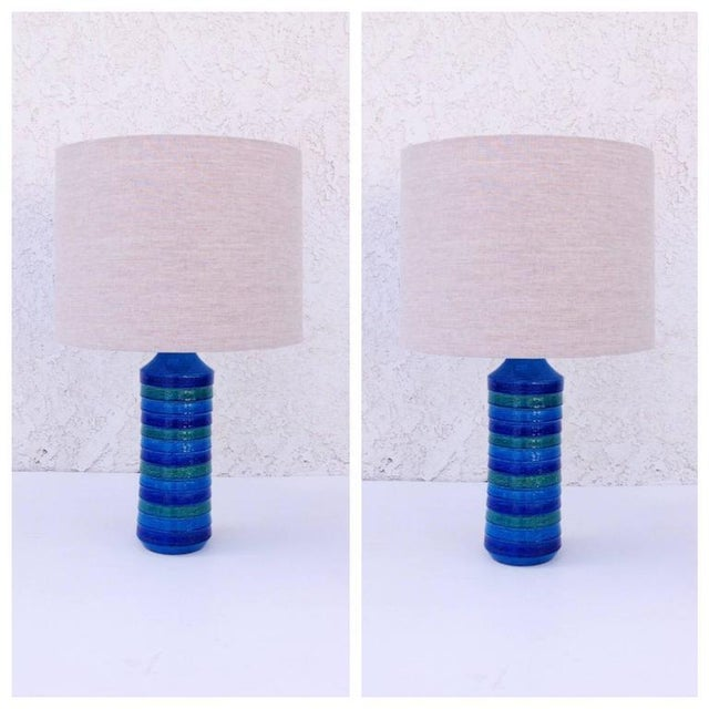 A pair of glamorous Italian glazed ceramic table lamps by Aldo Londi for Bitossi. This are all handmade and painted so...