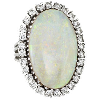 Opal Diamond Ring Vintage 14 Karat Gold Big Oval Cocktail Estate Fine Jewelry For Sale