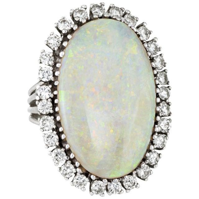 Opal Diamond Ring Vintage 14 Karat Gold Big Oval Cocktail Estate Fine Jewelry For Sale