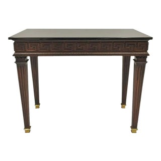 French Louis XVI Style Granite Top Greek Key Center/Console Table For Sale