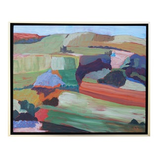 """""""Roadside Attraction"""" Contemporary Abstract Acrylic Landscape by Laurie MacMillan, Framed For Sale"""