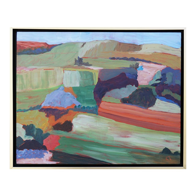 """Roadside Attraction"" Contemporary Abstract Acrylic Landscape by Laurie MacMillan, Framed For Sale"