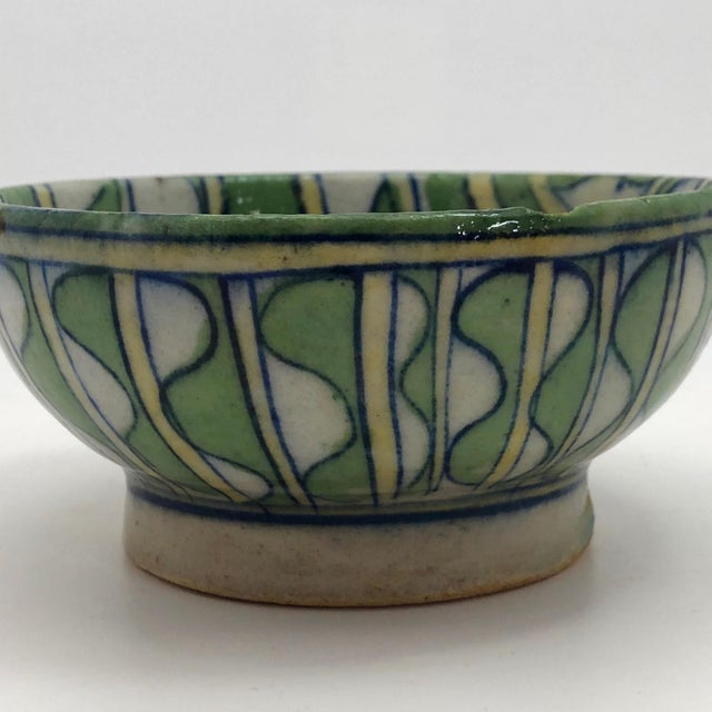 Blue Early 20th Century Green and White Patterned Tin Glazed Small Ceramic Bowl For Sale - Image 8 of 13