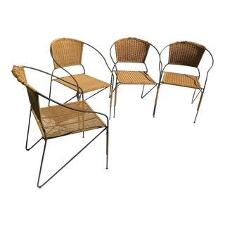 Mid Century Woodard Salterini Iron Dining Chairs - Set of 4 For Sale