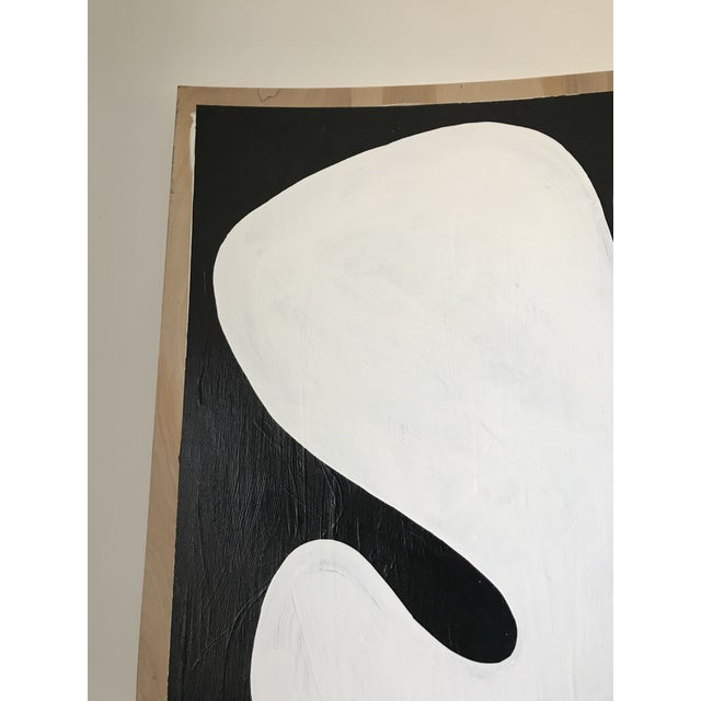 Black Abstract Acrylic Diptych Painting of Black and White Flower by Hannah Polskin For Sale - Image 8 of 9