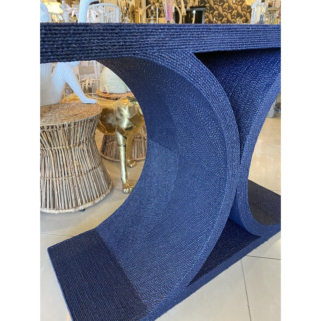 Wood Vintage Karl Springer Style Navy Blue Lacquered Rope Console Table For Sale - Image 7 of 13