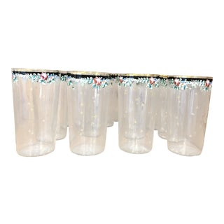 Hand Painted Gold Rims Italian Drinking Glasses - Set of 12 For Sale
