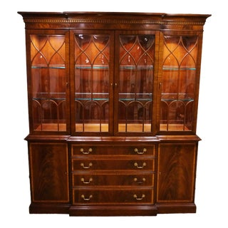 Ethan Allen Bubble Glass Banded Inlay Breakfront China Cabinet