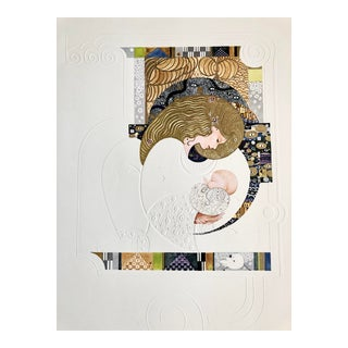 Vintage 1978 Mother and Child Art Nouveau Style Lithograph For Sale