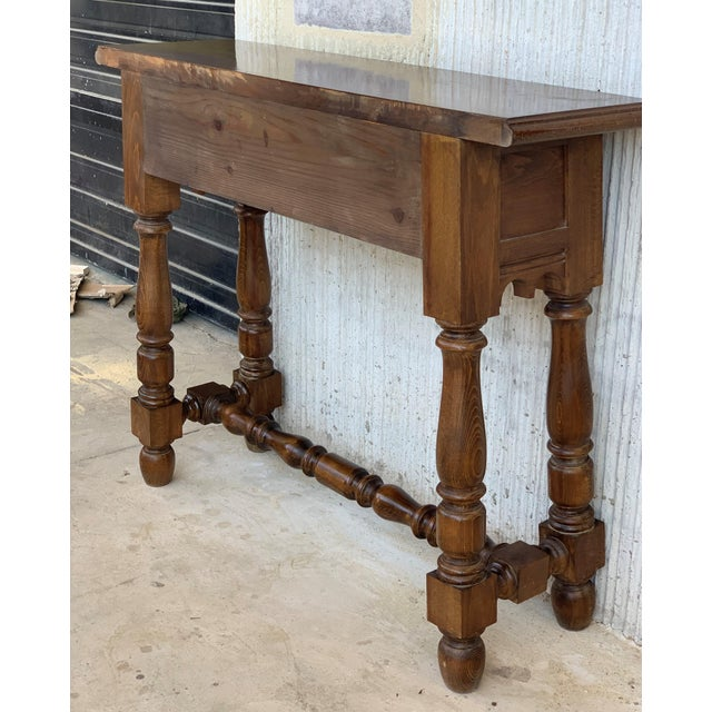 19th Spanish Walnut Console Table With Two Drawers For Sale - Image 4 of 12