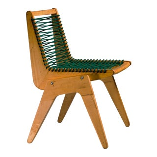 Robert Kayton and Associates Plywood with Woven Cord Chair, US, 1940s For Sale