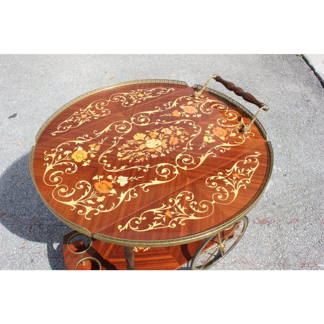 1950s 1950s French Marquetry Drop Leaf Bar Cart For Sale - Image 5 of 13