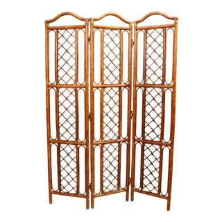 Mid Century Folding Bamboo and Rattan Screen Divider Circa 1970's For Sale
