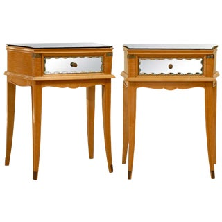 Stellar Pair of Art Deco End Tables With Mirror and Brass Accents For Sale