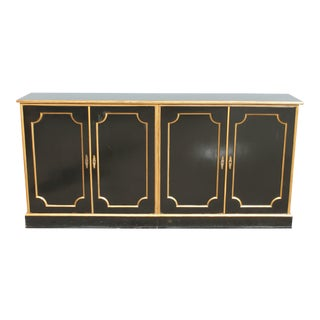 1940's Hollywood Regency Black Lacquer and Gilt Accent Credenza / Buffet For Sale