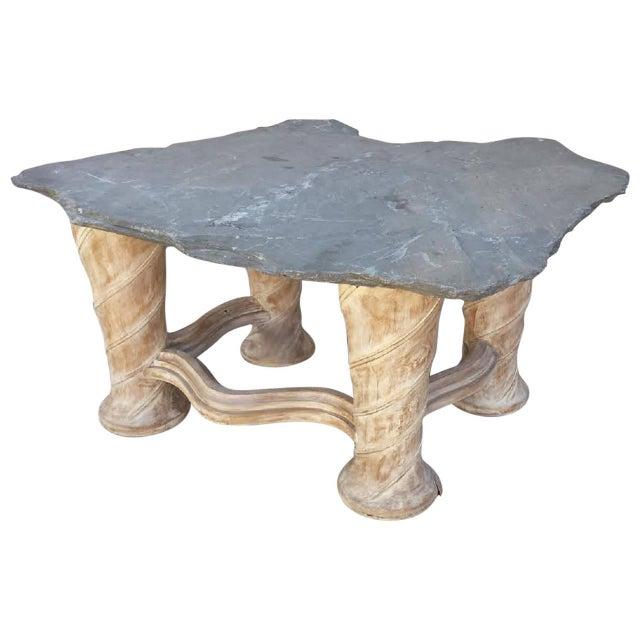 Free Form Slab Slate Top & Wood Base Table - Image 1 of 8