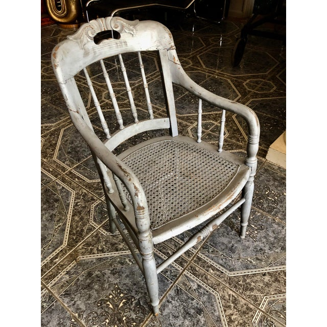 1940s Vintage Shabby Chic Lilac Wood and Cane Accent Chair For Sale - Image 4 of 13