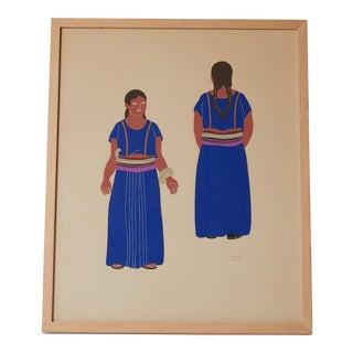1940s Framed Mexican Costume Silk Screen by Carlos Merida