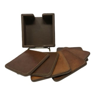 Vintage Leather Coasters by Williams Sonoma in Leather Box Holder Set of 6 For Sale