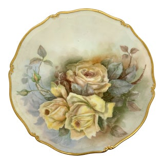 Vintage Shabby Chic Plate With 24k Gold Trim For Sale