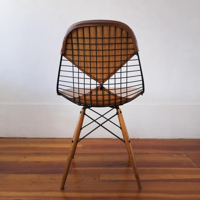 Black Eames Dkw-2 Dowel Wire Chair With Leather Bikini Cover For Sale - Image 8 of 13