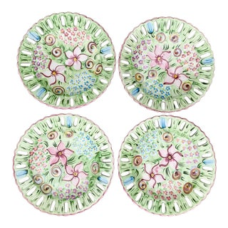 Vintage Vestal Alcobaca Majolica Hand Painted Pink & Green Plates - Set of 4 For Sale