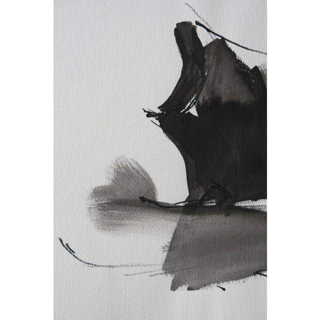 Vintage Abstract Black and White Watercolor Painting - Image 2 of 6