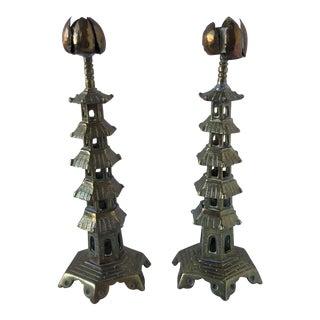 Brass Pagoda Candlesticks, a Pair