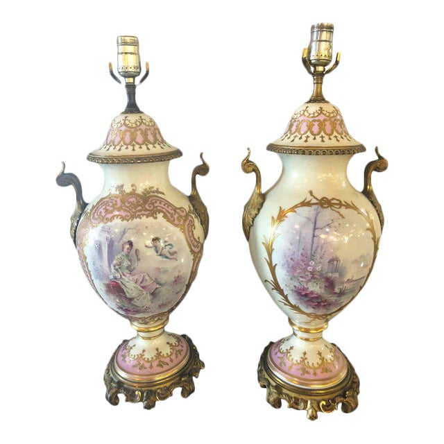Bronze Mounted French Porcelain Serves Urns Converted into Table Lamps - a Pair For Sale - Image 12 of 12