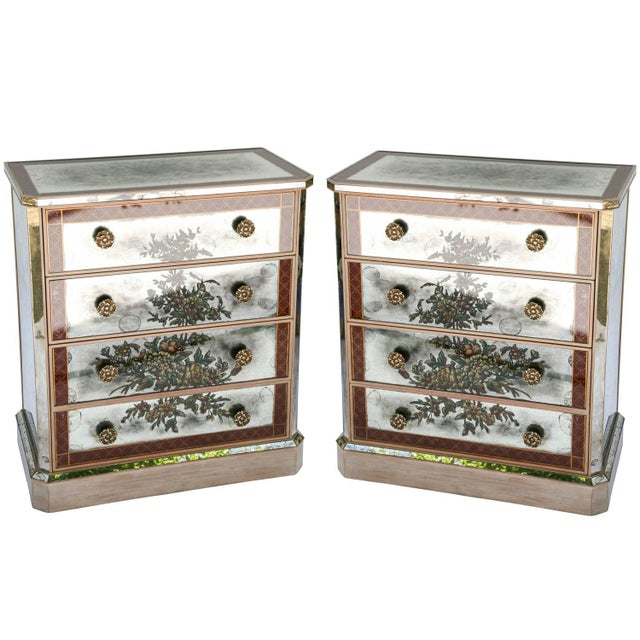 1940s Églomisé Mirrored Chest of Drawers - a Pair For Sale - Image 13 of 13