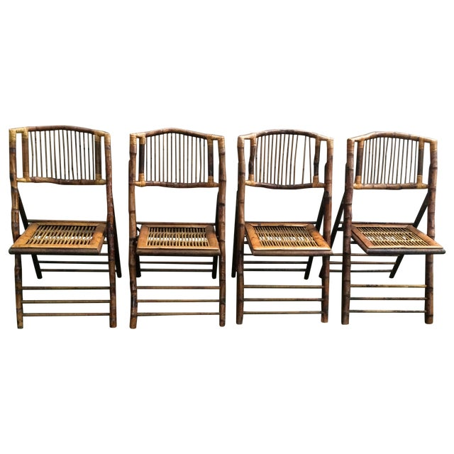 Bamboo Folding Chairs - Set of 4 - Image 1 of 11