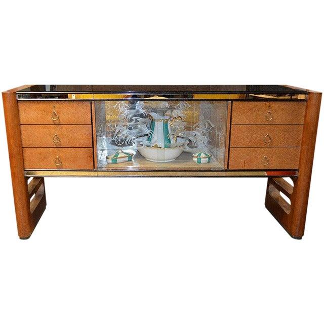 1940s Art Deco Italian Wood Sidebaord For Sale