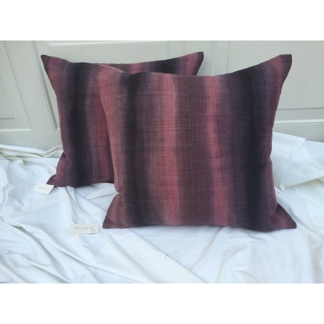 Boho Chic Tie-Dye Woven Thai Linen Pillows - Pair For Sale - Image 3 of 6