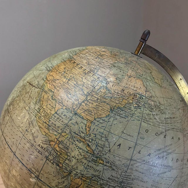 Antique French Paper MacheÕ World Globe on Painted Cast Iron Stand For Sale In Baton Rouge - Image 6 of 11