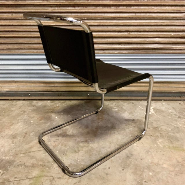 Vintage Mid Century Mart Stam Leather and Chrome Cantilever Chairs- A Pair For Sale - Image 9 of 13