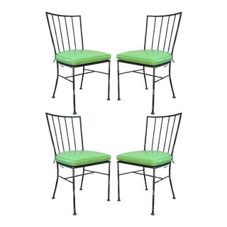 4 Vintage Mid Century Modern Hollywood Regency Metal Faux Bamboo Dining Chairs