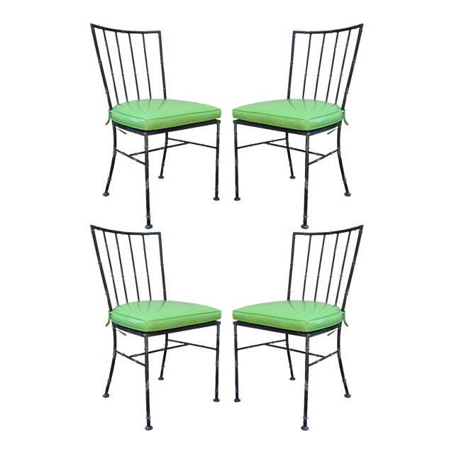 4 Vintage Mid Century Modern Hollywood Regency Metal Faux Bamboo Dining Chairs - Image 1 of 11